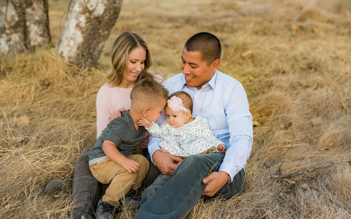 San Diego Family Lifestyle Photographer | Golden Hour Mission Trails Family Session in a field