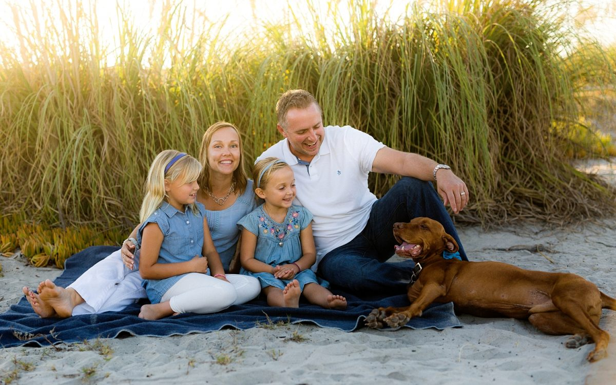 San Diego Family Photographer | Coronado Beach sunset portraits with red visla dog